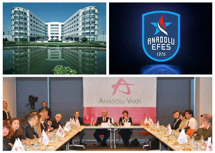 A visual of social organizations that includes Anadolu Foundation, Anadolu Medical Center and Anadolu Sports Club